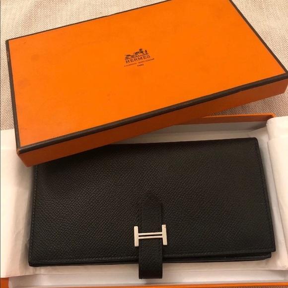 678eef6db72 Hermes Handbags - Authentic Hermes Bearn Bifold Wallet Black Epsom S